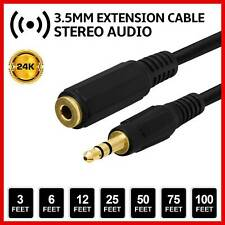 Stereo Audio Aux Extension Cable Headphone 3.5mm Male to Female Cord 1.5M Black
