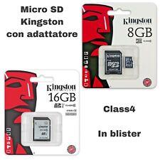 MICRO SD KINGSTON DA 8 O 16 GB CON ADATTATORE CLASS 4 MEMORIA FOTO SMARTPHONE HC