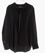 Madewell Silk Tie Neck Top Shirt Blouse In Black NWT Size S Career #G0052