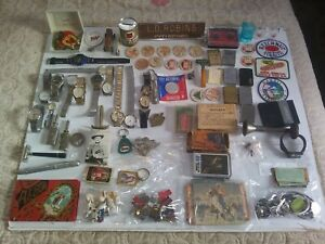 OLD VINTAGE ANTIQUE JUNK DRAWER LOT ADVERTISING WATCHES LIGHTERS CARDS BUTTONS