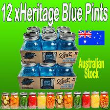 12 x 500ml BLUE Ball Mason Pint Jars Preserving Canning Weddings Cooking