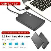 2.5 Inch HDD SSD Case Sata to USB 3.0/2.0 Hard Drive Enclosure Box New
