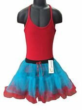 GIRL'S 2 Strati Rosso e Blu arruffato Gonna Tutu Costume Vestito Da Festa Costume