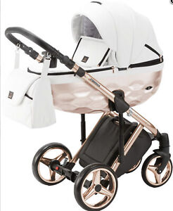 Limited Adamex Chantal Rose Gold White Baby Pram + Rose Gold Car Seat Pushchair