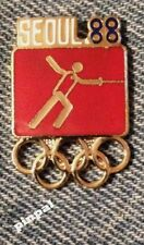 Fencing Olympic Pin Badge ~ Pictogram Red ~ 1988 ~ Seoul, Korea