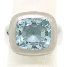 Solid Platinum 6.0ct Cushion Cut Bezel Set QUALITY Aquamarine Bold Heavy Ring