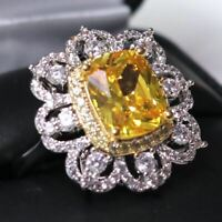 Gorgeous Cushion Yellow Citrine Hand Carved Diamond Halo Ring Sterling Silver