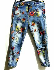 Handpainted floral  Denim Cropped Pants