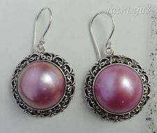 Mabe Pearl Solid Silver, 925 Bali Handcrafted Traditional Earring 23361