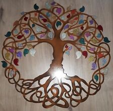 "Tree of Life, Multicolor Leaves, Celtic Design, Metal Art, 23.5"", Wall Decor"