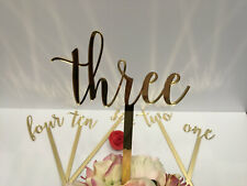 Large Wedding Table Numbers Sticks Script Acrylic Gold Mirror Cursive Number 17""