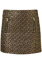 BNWT £40 UK 8 TopShop Skirt Mini Gold Quilted Metallic Zips Dress Up Party Black