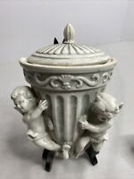 ARDCO Fine Quality Cherub Wall Pocket with Top & Matching Vase Made In Japan