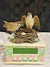 "Sparrows Club 2001 Alarm Clock Music Box Birds Chirp & Play ""Dawn is Awaking"""