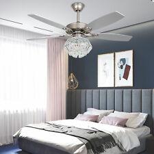 """52"""" Crystal Ceiling Fan Light 3 speed Retractable Blade Fan Remote Chandelier"""