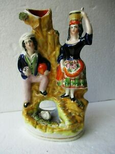 """Antique English Pottery Good Victorian Staffordshire Man And Woman Figurines """"F4"""