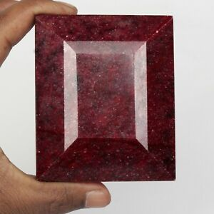 3035.00 Ct. Natural Big Size Red Ruby Emerald Cut Faceted Loose Gemstone FJ-970