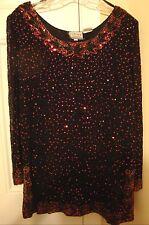 STENAY Women's 100% Silk Evening Top Sequine & Beads Works Size L