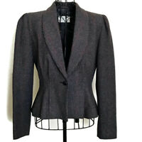 VTG 1940s Tweed Pleated Wool Blend Jacket Blazer Wasp Waist Lined Size M