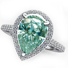 2.55 ct VVS1/WHITE SkY BLUE PEAR MOISANITE DIAMOND.925 Sterling SILVER RING