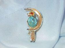 XXXX Cute Vintage Art Deco Jelly Bean Rhinestone Bird On The Moon Brooch 58ap7