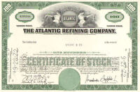 Atlantic Refining Company > 1960s Pennsylvania stock certificate 100 shares