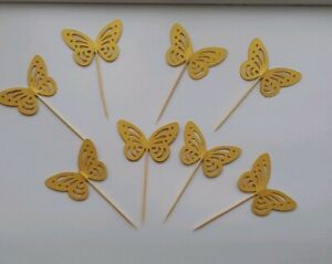 12x  princess party gold table decorations butterfly cupcake toppers