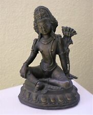 "Old Bronze Green Tara Statue for Dharma in Nepal, Tibet 7"" Tall"