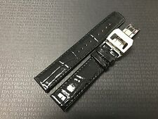 18mm Black Glossy Quality Leather Watch Band Stainless Steel Deployment Buckle