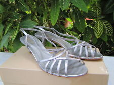 SERGIO ROSSI SHOES heels leather 40 10 silver kitten heel strappy