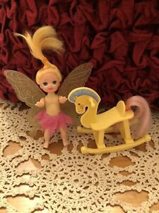 Barbie little sister Kelly doll friend  fairy wings and Rocking Horse *Free Gift