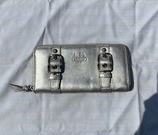 "Coach Signature Womens Wallet Silver Clutch 8"" Zip"