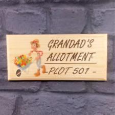 Personalised Allotment Plaque / Sign / Gift - Plot No Gardening Grandad Dad Veg