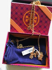 NWT TORY BURCH Gold Logo Charm Rosary Necklace w dustbag & gift box 35% OFF