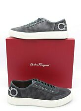 NIB SALVATORE FERRAGAMO Mens Truman Gancini Gray Suede Low-Top Sneakers 14 47