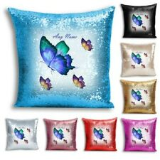 Personalised NAME BUTTERFLY Print Sequin Cushion/Pillow Cover for Home Decor - 6
