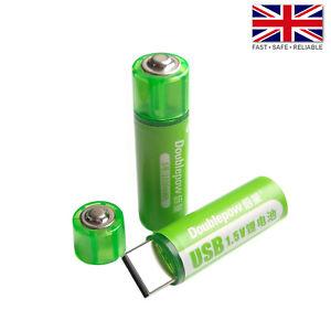 2pcs DoublePow AA Li-Ion USB Rechargeable Button Top Battery - 1.5V 1200mAh