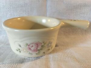 "PFALTZGRAFF tea rose pink flowers cream small 4"" handled casserole sauce dish"