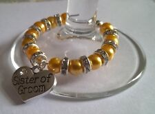 """Personalised """"Sister of Groom"""" Wine Glass Charm, Handmade with Diamante Spacers"""