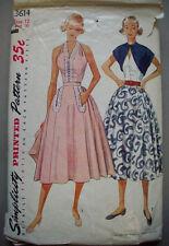1950's Halter top full skirt bolero dress pattern 3614 size 12