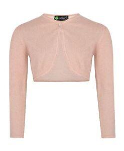 Girls Long Sleeve Bolero Glitter Effect Knitted Shrug Kids Top Lurex Cardigan