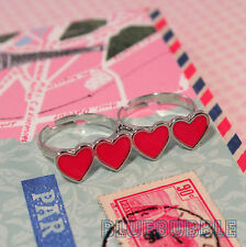Funky Corazones Rojos Doble anillo de dedo Lindo Kitsch Retro Love Vintage Chic Fashion
