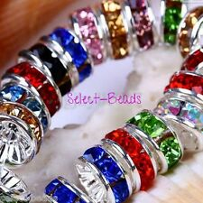1000 Rhinestone Multi Coloured Rondelles 8mm Spacer Jewellery beads Craft Making
