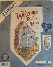 Dimensions READING ROOM 72558 Banner with Hanger Counted Cross Stitch Kit NEW