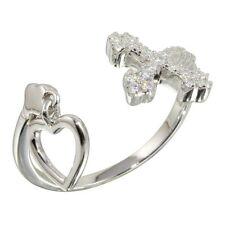 OPEN HEART & CROSS RING W/ LAB DIAMONDS /SZ 5 - 9 / 925 STERLING SILVER