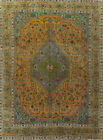 Overdyed Semi-Antique Geometric Traditional Distressed Handmade Area Rug 9x12 ft
