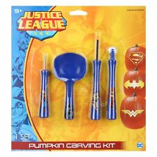 Gemmy Justice League Halloween Pumpkin Carving Kit  4 Tools 6 Patterns included