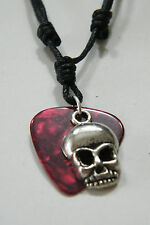 "SKULL NECKLACE & RED GUITAR PICK PIRATE HALLOWEEN CHOKER KIDS! 16""-28"" Cord NEW!"