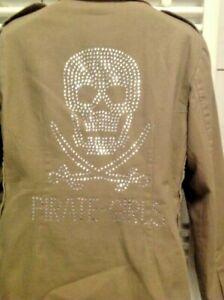 Forever 18 Jacke Piraten Khaki Grün mit Steinchen verziert