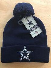 Dallas Cowboys Mens Winter Beanie Pom Hat One Size Blue White NFL Apparel Cuffed
